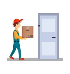Delivery Man at Door with a Box vector