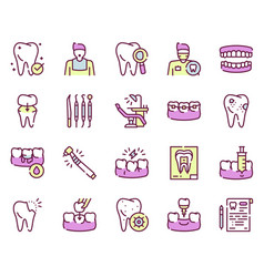 Dental care color linear icons set vector
