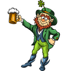elf leprechaun with beer for saint patrick vector image