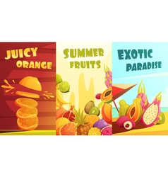 Exotic fruits vertical banners cartoon poster vector