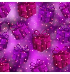 Festive background with gifts bokeh vector image