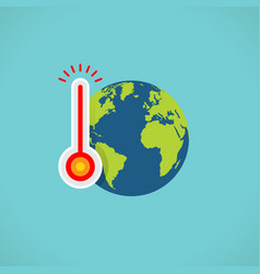 Flat color global warming icon vector