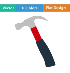 Flat design icon of hammer vector image