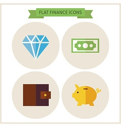 Flat Finance Website Icons Set vector