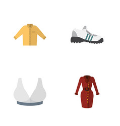 Flat icon garment set of sneakers clothes banyan vector