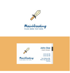 flat sword logo and visiting card template vector image