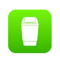 flip lid bin icon digital green vector image