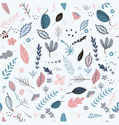 flowers and leaf pattern pretty spring pastel vector image