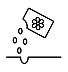 Flowers seed bag line style icon vector