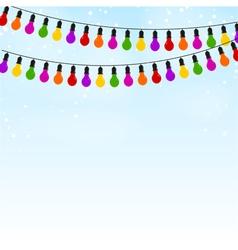 Garland colored lights on blue festive background vector image