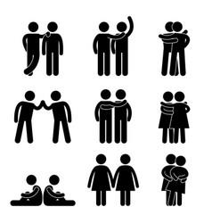 Gay lesbian heterosexual icon concept pictograph vector