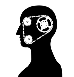 gear and chain brain silhouette vector image vector image