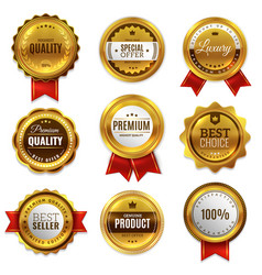 gold badges seal quality labels sale medal badge vector image
