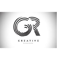 Gr lines warp logo design letter icon made vector