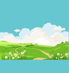Green grass blue sky vector