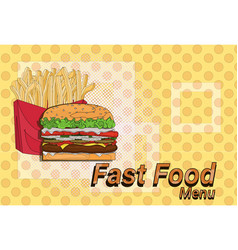 hamburger french fries street festival fast food vector image