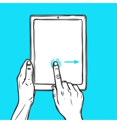 Hand hold tablet vector