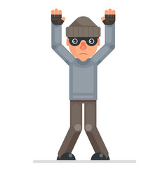 Hands up surrender caught evil greedily thief vector