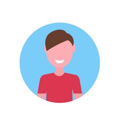 Happy caucasian face avatar little child male vector