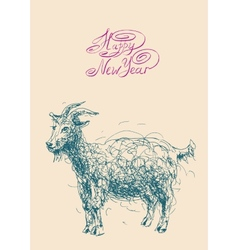 Happy new year design card with goat or sheep vector