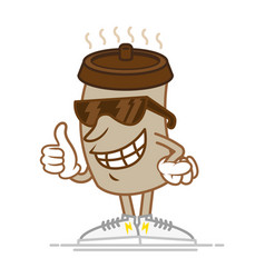 Happy paper cup with coffee vector