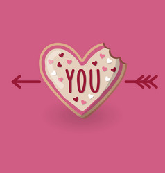 Heart shape bitten cookie with word you and arrow vector