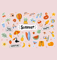 hello summer cute stickers template set vector image