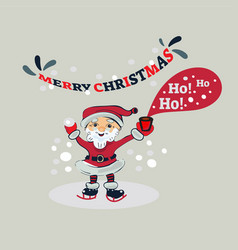 ho ho ho merry christmas santa claus in the ice vector image