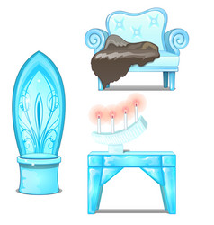 Ice sofa with skin table and chair interior vector