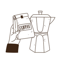 International day coffee hand holding package vector