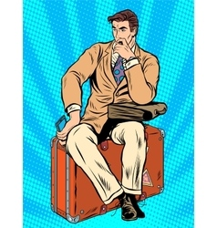 Man traveler sitting on a suitcase vector
