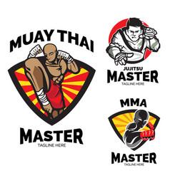 martial art master theme logo set vector image