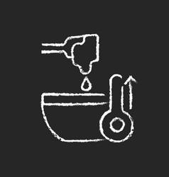 Melt cooking ingredient chalk white icon on dark vector