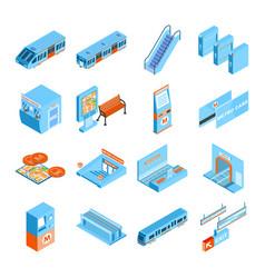 Metro isometric icons set vector