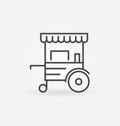 mobile cart linear icon - wheel market vector image