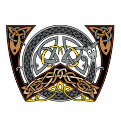 Monogram in the celtic style with a dragon vector