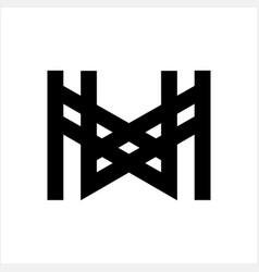 mw wm mxw wxm initials geometric letter company vector image