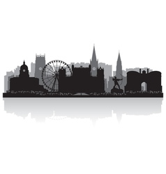Nottingham city skyline silhouette vector image