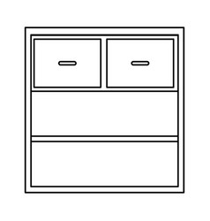 Office cabinet shelf close empty handle outline vector