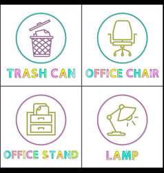 office environment elements round linear icons set vector image