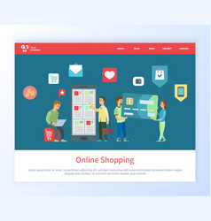 Online shopping buying product on website web vector