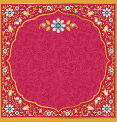 Ornate wedding invitation in gold and red vector