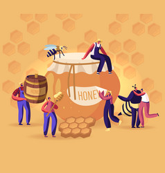 people extracting and eating honey concept vector image