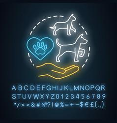 pet care neon light concept icon domestic animals vector image