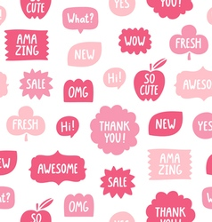 Pink color phrases seamless pattern on white vector image