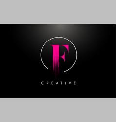 Pink f brush stroke letter logo design pink paint vector