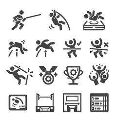 pole vault icon set vector image