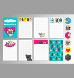 Printable set with cute pugs vector