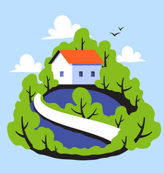 rural landscape with cute small house in forest vector image