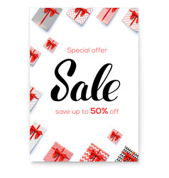 sale gift boxes with red ribbons and bows on vector image